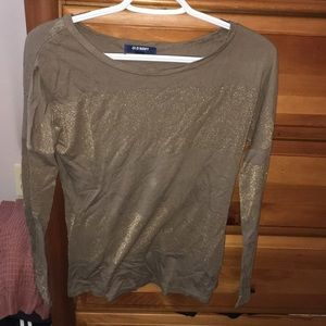 Gold stripped long sleeve shirt, size xs